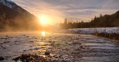 The natural upper Part of Isar River in Winter, Bavaria, Germany